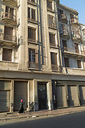 Part of city street and residential building on Boulevard Mohammed V, Casablanca, Morocco