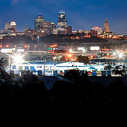 View of downtown Kansas City Missouri from KCK, with view of West Bottoms industrial area in foreground.