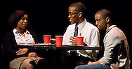 """LEST WE FORGET -- """"Pamela Baker"""" (left, played by Erin Waddles), """"Dr. Baker"""" (Patrick Easley) and """"Mike"""" (Joshua Bridges), all students from Washington University in St. Louis, have lunch during a scene from Black Anthology 2012 """"Lest We Forget"""" at Edison Theatre on the Danforth Campus in St. Louis Friday, Feb. 3, 2012. Photo by Sid Hastings © copyright 2012 Washington University in St. Louis."""