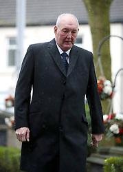 Retired goalkeeper Joe Corrigan arrives at the funeral service for Gordon Banks at Stoke Minster.