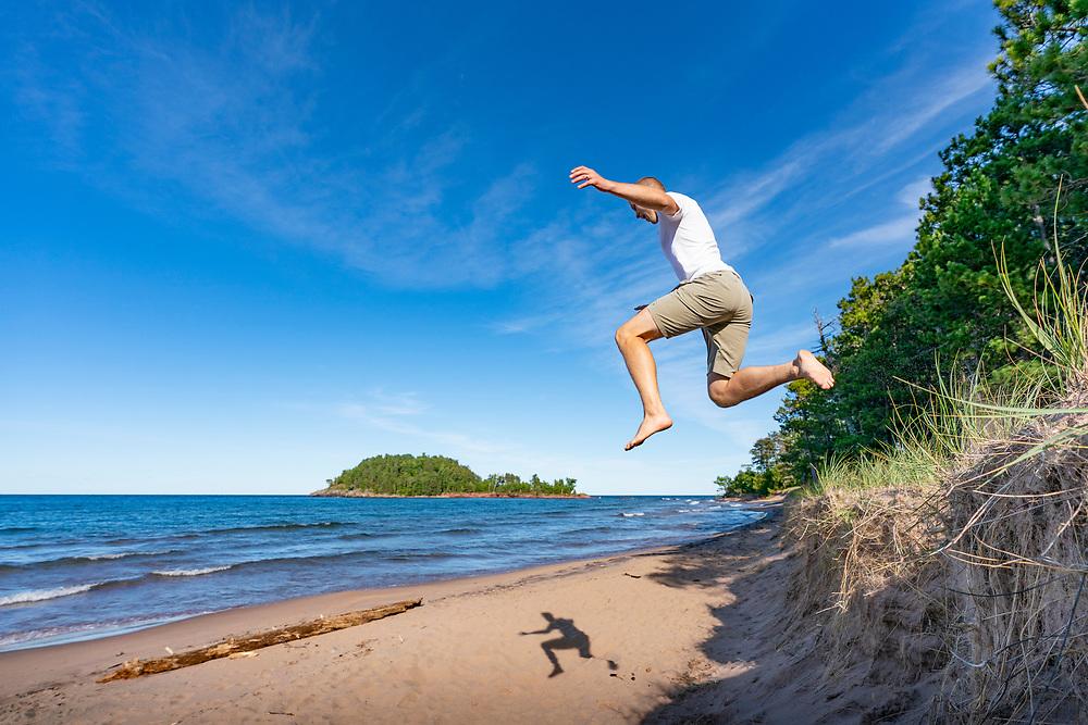 Beach day at the Little Presque Isle area near Marquette, Michigan.