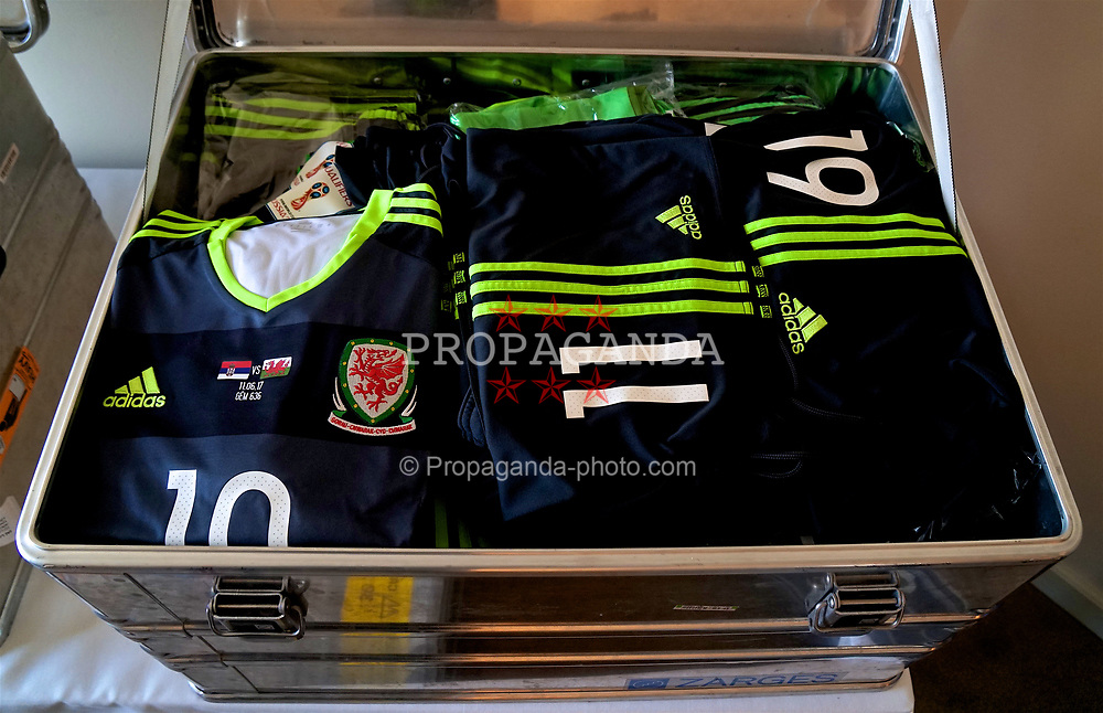 BELGRADE, SERBIA - Sunday, June 11, 2017: The grey away shirt of Wales' Aaron Ramsey laid out in the kit room at the Hyatt Regency Hotel ahead of the 2018 FIFA World Cup Qualifying Group D match against Serbia. (Pic by David Rawcliffe/Propaganda)