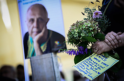 JOHANNESBURG, March 29, 2017  A woman holding a bouquet and a card attends the funeral of Ahmed Kathrada at Westpark Cemetery in Johannesburg, South Africa, on March 29, 2017. South African anti-apartheid stalwart Ahmed Kathrada died in the early hours of Tuesday morning at the age of 87.  sxk) (Credit Image: © Zhai Jianlan/Xinhua via ZUMA Wire)