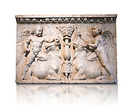 Roman marble sculptured relief with cupids about to sacrifice bulls, from the Temple of Venus Genetrix in the Forum of Caesar Rome 30 AD , inv 6718 Farnese Collection, Naples Archaeological Museum ..<br /> <br /> If you prefer to buy from our ALAMY STOCK LIBRARY page at https://www.alamy.com/portfolio/paul-williams-funkystock/greco-roman-sculptures.html . Type -    Naples    - into LOWER SEARCH WITHIN GALLERY box - Refine search by adding a subject, place, background colour, museum etc.<br /> <br /> Visit our ROMAN WORLD PHOTO COLLECTIONS for more photos to download or buy as wall art prints https://funkystock.photoshelter.com/gallery-collection/The-Romans-Art-Artefacts-Antiquities-Historic-Sites-Pictures-Images/C0000r2uLJJo9_s0