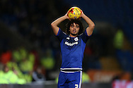 Fabio Da Silva of Cardiff city takes a throw-in. Skybet football league championship match, Cardiff city v Blackburn Rovers at the Cardiff city stadium in Cardiff, South Wales on Saturday 2nd Jan 2016.<br /> pic by Andrew Orchard, Andrew Orchard sports photography.