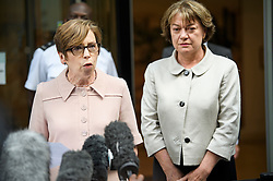 © Licensed to London News Pictures. 18/07/2018. London, UK. FRAN UNSWORTH (left), reads a statement to media outside the Rolls Building of the High Court in London where judges ruled in favour of a claim by Sir Cliff Richard for damages against the BBC for loss of earnings. The 77-year-old singer sued the corporation after his home in Sunningdale, Berkshire was raided following allegations of sexual assault made to Metropolitan Police. Photo credit: Ben Cawthra/LNP