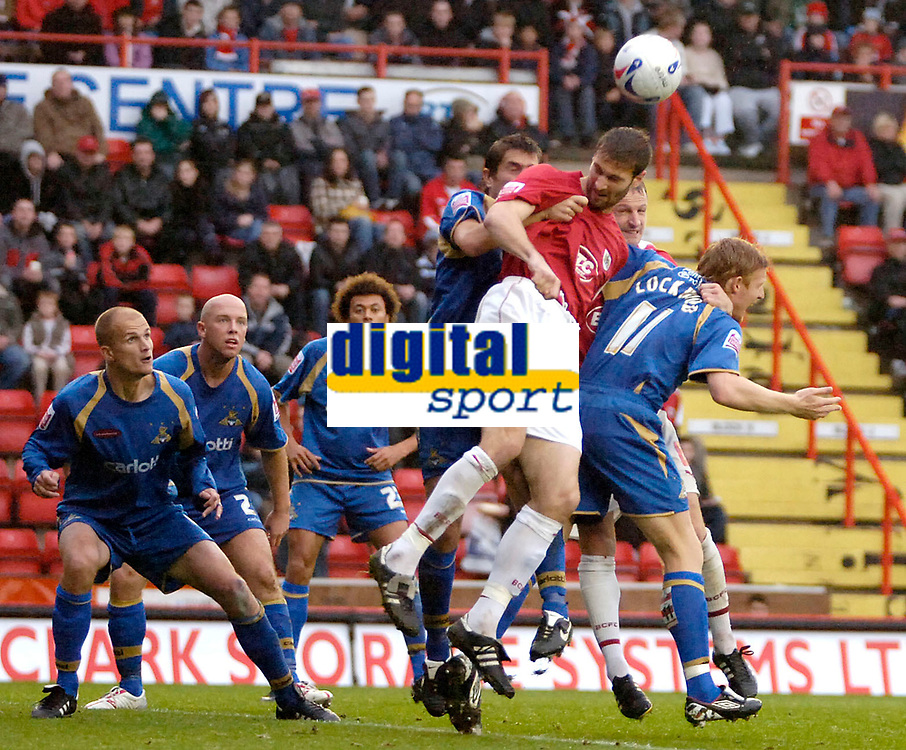 Photo: Ed Godden.<br />Bristol City v Doncaster Rovers. Coca Cola League 1. 28/10/2006. Bristol's Jamie McCombe (2nd from the right) is bombarded by Doncaster players in the Doncaster area.