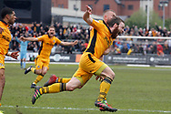 Newport County's Mark O'Brien © celebrates with his  teammates after scoring his sides crucial match winning goal. EFL Skybet football league two match, Newport county v Notts County at Rodney Parade in Newport, South Wales on Saturday 6th May 2017.<br /> pic by David Richards, Andrew Orchard sports photography.