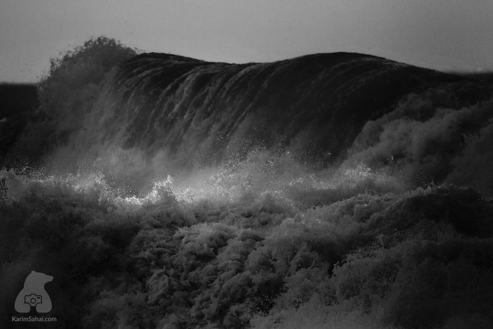 Crashing waves on the Wellington South Coast, New Zealand.
