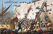 Siege of Paris 885-886 by the Vikings (Northmen). Considered by some to be the beginning of Norman power in France. Battle War Military  Nineteenth century Trade Card Chromolithograph