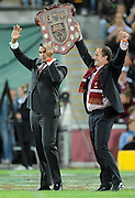 May 25th 2011: Maroons, Greg Inglis and Billy Moore hold up the shield before game 1 of the 2011 State of Origin series at Suncorp Stadium in Brisbane, Australia on May 25, 2011. Photo by Matt Roberts/mattrIMAGES.com.au / QRL