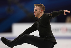 January 17, 2018 - Moscow, Russia - Figure skater Phillip Harris of Britain performs his short program during a men's singles competition at the 2018 ISU European Figure Skating Championships, at Megasport Arena in Moscow, Russia  on January 17, 2018. (Credit Image: © Igor Russak/NurPhoto via ZUMA Press)