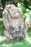Africa, Tanzania, wooden Monkey statue