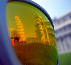 Leaning tower in Pisa, Tuscany, Italy reflected in sunglasses, 2nd July, 2011..©Pic : Michael Schofield.