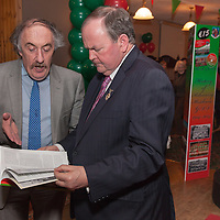 An tUachtaran Cumann Luthchleas Gael, Mr. Liam O'Neill, discusses the history of the Kilmurry Ibreckane Club Hisory with the author, David Dillion, during the launch of the book at the Kilmurry Ibrickane GAA Club Centenary Closing Ceremony
