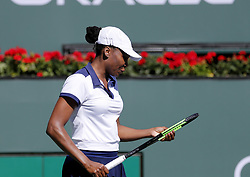 March 7, 2019 - Los Angeles, California, U.S - Venus Williams of USA, reacts during the women singles first round match of the BNP Paribas Open tennis tournament against Andrea Petkovic of Germany, on Thursday, March 7, 2019 in Indian Wells, California. Williams won 2-1. (Credit Image: © Ringo Chiu/ZUMA Wire)