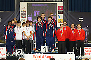Loughborough, England - Saturday 31 July 2010: USA team 8 comprising L.J. LaVecchia, Vincent Martis, Trevor Norris, Danny Vaninger,.Matt Vaninger collect the gold for the mens Single Rope Speed event  during the World Rope Skipping Championships held at Loughborough University, England. The championships run over 7 days and comprise junior categories for 12-14 year olds in the World Youth Tournament, 15-17 year olds male and female championships, and any age open championships. In the team competitions, 6 events are judged, the Single Rope Speed, Double Dutch Speed Relay, Single Rope Pair Freestyle, Single Rope Team Freestyle, Double Dutch Single Freestyle and Double Dutch Pair Freestyle. For more information check www.rs2010.org. Picture by Andrew Tobin/Picture It Now.