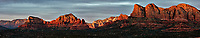 Sunset Panorama Sedona, Arizona. Composite of 11 images taken with a Nikon 1 V2 camera and 32 mm f/1.2 lens (ISO 200, 32 mm, f/5.6, 1/40 sec). Raw images processed with Capture One Pro. Panorama generated using AutoPano Giga Pro.
