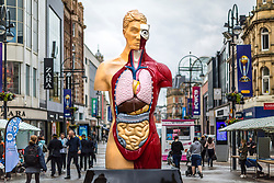 © Licensed to London News Pictures. 20/06/2019. Leeds, UK. A six metre tall work of art by British artist Damien Hirst called Hymn has gone on display in Leeds city centre. The piece by the Turner Prize winning artist who grew up in Leeds is on show for three months as part of the free to see Yorkshire Sculpture International- the UK's biggest sculpture festival this year. The festival will see exhibitions across The Henry Moore Institute, Leeds Art Gallery, The Hepworth, Yorkshire Sculpture Park as well as sculptures outdoors in Leeds & Wakefield. Photo credit: Andrew McCaren/LNP