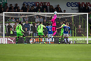 Forest Green Rovers goalkeeper Sam Russell(23) claims a cross during the Vanarama National League match between Forest Green Rovers and Chester FC at the New Lawn, Forest Green, United Kingdom on 14 April 2017. Photo by Shane Healey.
