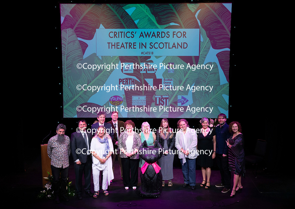 EMBARGOED UNTIL 18.00 (6PM) 10.06.18 <br />Critics' Awards for Theatre in Scotland at Perth Theatre…The Theatre Critics pictured on the stage with presenter Blythe Duff<br />for further info contact Lesley Booth at CATS on 07799 414474<br />Picture by Graeme Hart.<br />Copyright Perthshire Picture Agency<br />Tel: 01738 623350  Mobile: 07990 594431