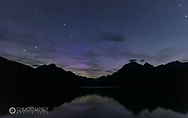 Starry skies over Bowman Lake in Glacier National Park, Montana, USA