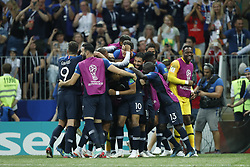 France goalkeeper Hugo Lloris, Benjamin Pavard of France, Presnel Kimpembe of France, Raphael Varane of France, Samuel Umtiti of France, Paul Pogba of France, Antoine Griezmann of France, Thomas Lemar of France, Olivier Giroud of France, Kylian Mbappe of France, Ousmane Dembele of France, Corentin Tolisso of France, Ngolo Kante of France, Blaise Matuidi of France, Steven N Zonzi of France, France goalkeeper Steve Mandanda, Adil Rami of France, Nabil Fekir of France, Djibril Sidibe of France, Florian Thauvin of France, Lucas Hernandez of France, Benjamin Mendy of France, France goalkeeper Alphonse Areola, during the 2018 FIFA World Cup Russia Final match between France and Croatia at the Luzhniki Stadium on July 15, 2018 in Moscow, Russia