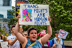 July 29, 2017 - New York, New York, U.S. - A group of New Yorkers gathered at Columbus Circle across the Trump International Hotel and Tower New York in Central Park to raise their voices in protest against discrimination towards the LGBTQ community, in the aftermath of the Trump's decision to ban transgender people from serving in the U.S. military. (Credit Image: © Erik Mcgregor/Pacific Press via ZUMA Wire)