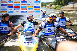 Prindis Vit (CZE), Kauzer Peter (SLO), Bowers Christopher (GBR) and Aigner Hannes (GER) after Final run during Day 2 of 2018 ECA Canoe Slalom European Championships, on June 2nd, 2018 in Troja , Prague, Czech Republic. Photo by Grega Valancic / Sportida