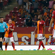 Referee Huseyin Gocek (C) and Galatasaray's (L-R) Selcuk Inan, Sabri Sarioglu, Wesley Sneijder, Chedjou, Burak Yilmaz during their Turkish Super League soccer match Galatasaray between Osmanlispor at the AliSamiYen Spor Kompleksi TT Arena at Seyrantepe in Istanbul Turkey on Monday, 24 August 2015. Photo by Aykut AKICI/TURKPIX