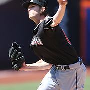 NEW YORK, NEW YORK - APRIL 13: Pitcher Adam Conley, Miami Marlins, pitching during the Miami Marlins Vs New York Mets MLB regular season ball game at Citi Field on April 13, 2016 in New York City. (Photo by Tim Clayton/Corbis via Getty Images)
