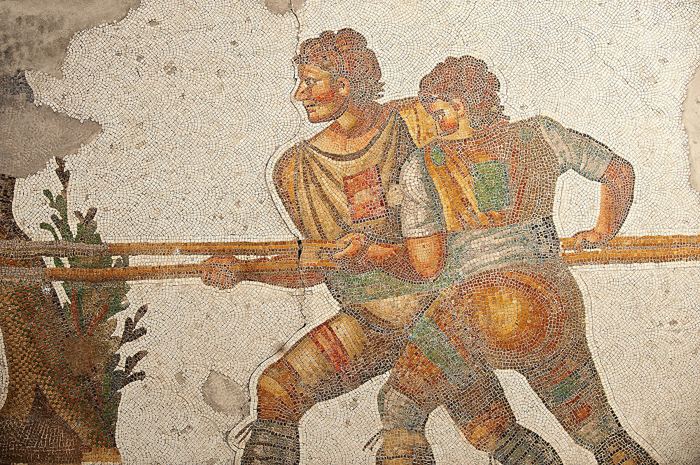 6th century Byzantine Roman mosaics of a hunters from the peristyle of the Great Palace from the reign of Emperor Justinian I. Istanbul, Turkey. .<br /> <br /> If you prefer to buy from our ALAMY PHOTO LIBRARY  Collection visit : https://www.alamy.com/portfolio/paul-williams-funkystock/istanbul.html<br /> <br /> Visit our TURKEY PHOTO COLLECTIONS for more photos to download or buy as wall art prints https://funkystock.photoshelter.com/gallery-collection/3f-Pictures-of-Turkey-Turkey-Photos-Images-Fotos/C0000U.hJWkZxAbg .<br /> <br /> If you prefer to buy from our ALAMY PHOTO LIBRARY  Collection visit : https://www.alamy.com/portfolio/paul-williams-funkystock/great-palace-mosaic-istanbul.html<br /> <br /> Visit our ROMAN MOSAIC PHOTO COLLECTIONS for more photos to download  as wall art prints https://funkystock.photoshelter.com/gallery-collection/Roman-Mosaics-Art-Pictures-Images/C0000LcfNel7FpLI