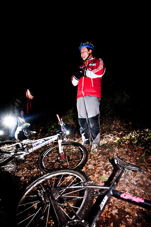 Richard Maddon during the transition from night time mountain biking to running while Training with AdidasTERREX on the Wenger Patagonia Expedition Race media day. 11/01/2011.Copyrighted work - Permission must be sought before use of this image..Alex Ekins +44 (0)7901 882994.