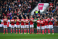 Football - 2018 / 2019 Emirates FA Cup - Fifth Round: Bristol City vs. Wolverhampton Wanderers<br /> <br /> Bristol City players observe a minute's silence for Gordon Banks OBE who died earlier this week, at Ashton Gate.<br /> <br /> COLORSPORT/ASHLEY WESTERN