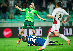 Denis Klinar of NK Olimpija vs Igor Semrinec of AS Trencin during 1st Leg football match between NK Olimpija Ljubljana (SLO) and FK AS Trenčin (SVK) in Second Qualifying Round of UEFA Champions League 2016/17, on July 13, 2016 in SRC Stozice, Ljubljana, Slovenia. Photo by Vid Ponikvar / Sportida