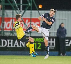 Livingston Scott Pittman and Falkirk's Will Vaulks. Falkirk 2 v 0 Livingston, Scottish Championship game played 29/12/2015 at The Falkirk Stadium.
