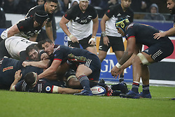 France's Louis Picamoles and Sebastien Vahamahina during a rugby friendly Test match, France vs New-Zealand in Stade de France, St-Denis, France, on November 11th, 2017. France New-Zealand won 38-18. Photo by Henri Szwarc/ABACAPRESS.COM