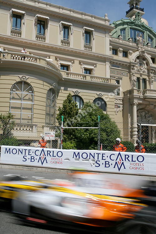 A blurred Nelson Piquet Jr. (Renault)  in practice for the 2008 Monaco Grand Prix. Photo: Grand Prix Photo
