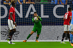 Manchester City defender Ederson Moraes (31) makes the save during play a the International Champions Cup match between Manchester United and Manchester City at NRG Stadium in Houston, Texas