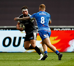 Scott Baldwin of Ospreys under pressure from Ross Moriarty of Dragons<br /> <br /> Photographer Simon King/Replay Images<br /> <br /> Guinness PRO14 Round 18 - Ospreys v Dragons - Saturday 23rd March 2019 - Liberty Stadium - Swansea<br /> <br /> World Copyright © Replay Images . All rights reserved. info@replayimages.co.uk - http://replayimages.co.uk