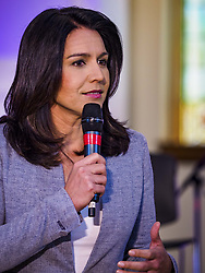 April 27, 2019 - Stuart, Iowa, U.S - US Representative TULSI GABBARD, (D-HI) a candidate for the Democratic nomination for the US presidency, talks to Iowa voters at the Reaching Rural Voters Forum in Stuart. The forum was an outreach by Democrats in Iowa's 3rd Congressional District to mobilize Democratic voters statewide. Iowa saw one of the largest shifts from Democrats to Republicans in the 2016 Presidential election and Trump won the state by double digits. Republicans control the governor's office and both chambers of the Iowa legislature. Iowa traditionally hosts the the first selection event of the presidential election cycle. The Iowa Caucuses will be on Feb. 3, 2020. (Credit Image: © Jack Kurtz/ZUMA Wire)
