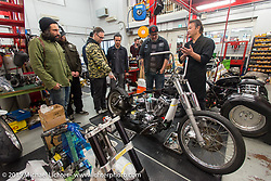Zak Take Shibazaki shows us around his Sundance V-Twin Skunkworks motorcycle shop. Tokyo, Japan. December 8, 2015.  Photography ©2015 Michael Lichter.