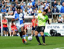 Ellis Harrison of Bristol Rovers challenges Ryan Tafazolli of Peterborough United - Mandatory by-line: Neil Brookman/JMP - 12/08/2017 - FOOTBALL - Memorial Stadium - Bristol, England - Bristol Rovers v Peterborough United - Sky Bet League One