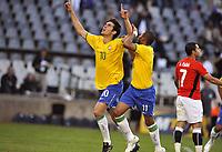 Fotball<br /> Brasil v Egypt<br /> Foto: DPPI/Digitalsport<br /> NORWAY ONLY<br /> <br /> FOOTBALL - CONFEDERATIONS NATIONS CUP 2009 - GROUP B - 1ST ROUND - BRAZIL v EGYPT - 15/06/2009 <br /> <br /> JOY KAKA / ROBINHO AFTER THE KAKA'S GOAL