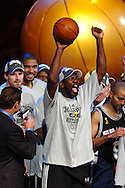 The San Antonio Spurs' Michael Finley celebrates after winning a championship in his 12th season after the Spurs sweeped the Cleveland Cavaliers in four games in the 2007 NBA Finals.