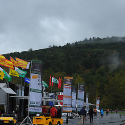 The rained-on paddock of the Grand-Am Rolex Sports Car Series at Lime Rock Park in Lakeville, Conn.