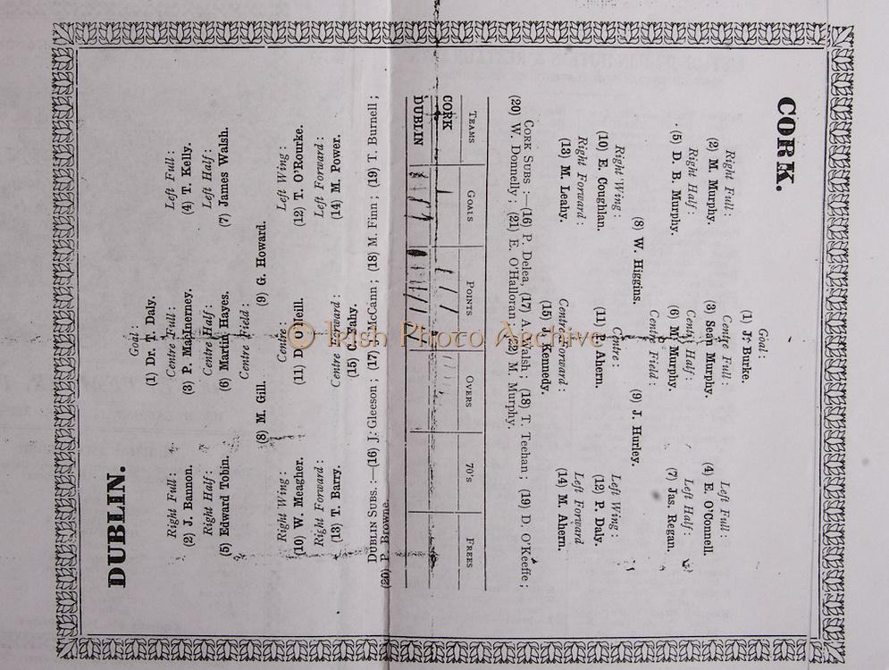 All Ireland Senior Hurling Championship Final,.04.09.1927, 09.04.1927, 4th September 1927, .Cork 1-3, Dublin 4-8,.Senior Cork v Dublin, .Croke Park, ..Cork Senior Team, J. Burke, Goalkeepr, M. Murphy, Right corner-back, Sean Og Murphy, Captain, Full-back, E. O'Connell, Left corner-back, D. B. Murphy, Right half-back, M. Murphy, Centre half-back, Jas. Regan, Left half-back W. Higgins, Midfielder, J. Hurley, Midfielder, E. Coughlan, Right half-forward, P. Ahern, Centre half-forward, P. Daly, Left half-forward, M. Leahy, Right corner-forward, M. Ahern, Left corner-forward, J. Kennedy, Centre forward Substitutes, P. Delea, A. Walsh, T. Teehan, D. O'Keeffe, W. Donnelly, E. O'Halloran, M. Murphy, ..Dublin Senior Team, Dr. T. Daly, Goalkeeper, J. Bannon, Right corner-back, P. MacInerney, Full-back, T. Kelly, Left corner-back, Edward Tobin, Right half-back, Martin Hayes, Centre half-back, James Walsh, Left half-back,  M. Gill, Midfielder, G. Howard, Midfielder, W. Meagher, Right half-forward, D. O'Neill, Centre half-forward, T. O'Rourke, Left half-forward, T. Barry, Right corner-forward, M. Power, Left corner-forward, C. Fahy, Centre full-forward, Substitutes, J. Gleeson, J. McCann, M. Finn, T. Burnell, P. Browne, .