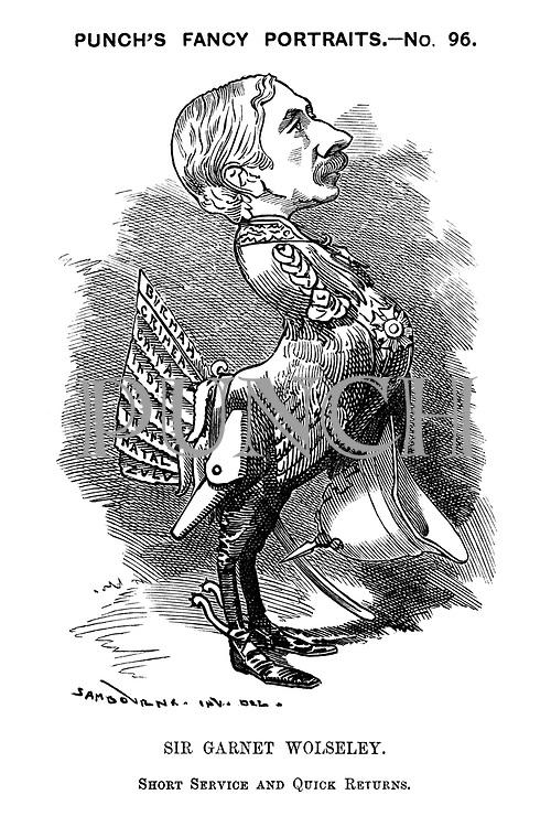 Punch's Fancy Portraits. No 96. Sir Garnet Wolseley. Short service and quick returns.