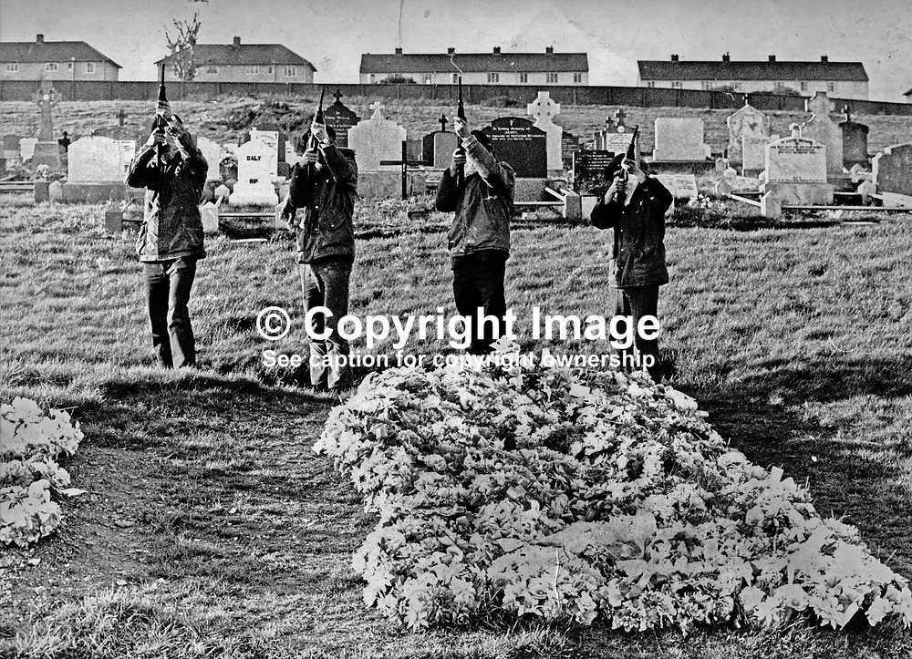 IRA volunteers fire a volley of shots fired over the grave of 19 year Eamonn Lafferty in the City Cemetry, Londonderry.  Lafferty, a native of Derry, died in a gun battle with British soldiers on 18 August 1971. The gun battle was triggered by the military moving into the Bogside to remove barricades, following the earlier shooting dead  of the first soldier to be killed by either IRA faction in the city. The volley of shots tooks place some time after Lafferty's funeral. 19710800EL<br /> <br /> Copyright Image from Victor Patterson, Belfast, UK<br /> <br /> t: +44 28 9066 1296 (from Rep of Ireland 048 9066 1296)<br /> m: +44 7802 353836<br /> e: victorpattersonbelfast@gmail.com<br /> <br /> www.images4media.com<br /> <br /> Please see my full Terms and Conditions of Use at https://www.images4media.com/p/terms-conditions - it is IMPORTANT that you familiarise yourself with them.<br /> <br /> Images used online incur an additional cost. This cost should be agreed in writing in advance. Online images must be visibly watermarked i.e. © Victor Patterson or that of the named photographer within the body of the image. The original metadata must not be deleted from images used online.<br /> <br /> This image is only available for the use of the download recipient i.e. television station, newspaper, magazine, book publisher, etc, and must not be passed on to a third party. It is also downloaded on condition that each and every usage is notified within 7 days to victorpattersonbelfast@gmail.com.<br /> <br /> The right of Victor Patterson (or the named photographer) to be identified as the author is asserted in accordance with The Copyright Designs And Patents Act (1988). All moral rights are asserted.
