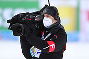 SOELDEN, AUSTRIA. OCTOBER 17 2020:  1st Women's Giant Slalom as part of the Alpine Ski World Cup in Solden on October 17, 2020; Run 2, A ORF TV crew wearing a mask ( Pierre Teyssot/ESPA Images-Image of Sport)